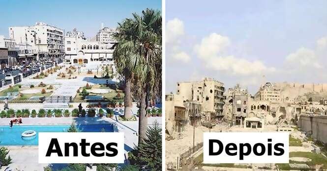 Antes e depois mostrando o que a guerra fez à maior cidade da Síria