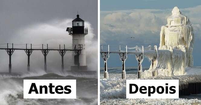 Imagens incríveis mostrando as transformações de diversos lugares do mundo com a chegada do inverno