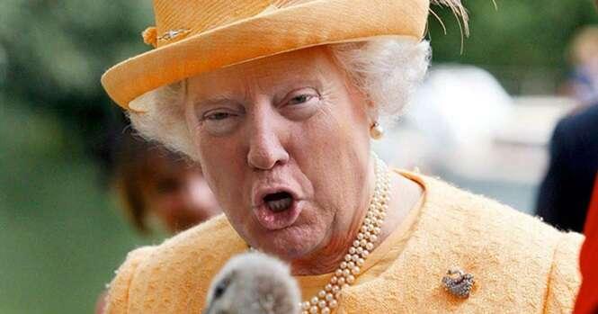 Caras hilárias de Donald Trump no rosto da Rainha da Inglaterra