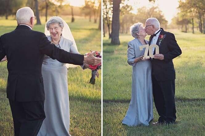 Este casal esperou 70 anos para fazer as fotos de seu casamento