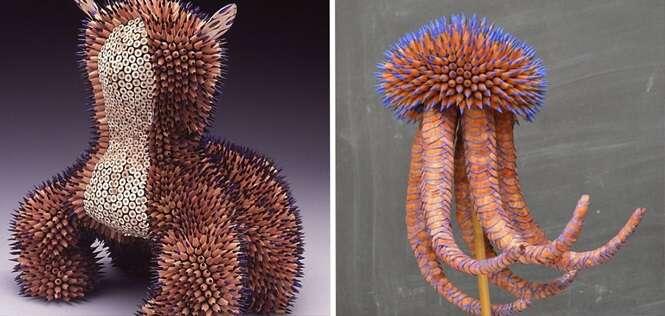 Incríveis esculturas feitas apenas de lápis de cor