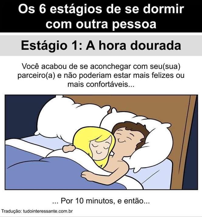 Imagens mostrando como é dormir com outra pessoa