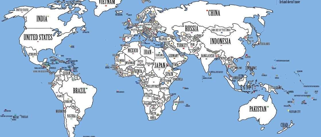 Neste mapa-múndi, os países mais populosos estão nos maiores territórios