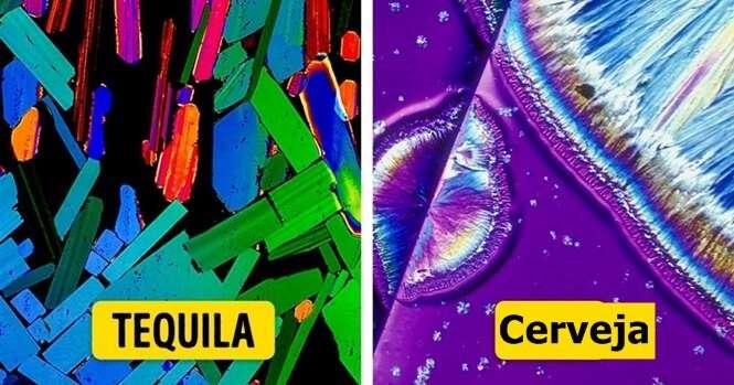 Bebidas alcóolicas que parecem obras de arte quando vistas ao microscópio