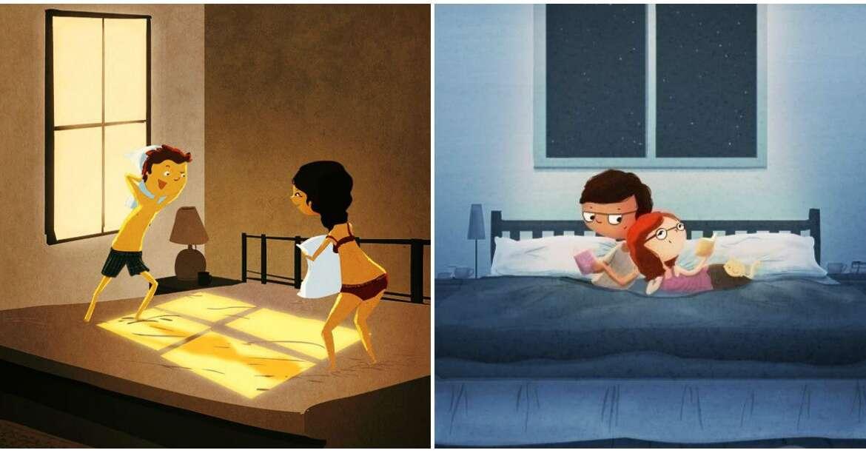 Ilustrações mostrando que a felicidade a dois está nas pequenas coisas