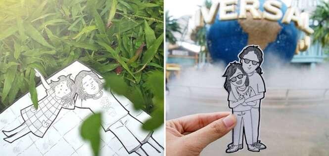 Casal registra suas aventuras em desenhos em vez de fazer selfies