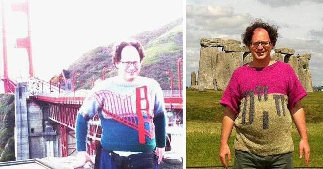 Este cara faz suéteres de lugares e depois tira fotos junto de suas fontes de inspiração