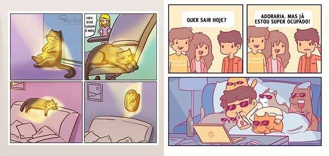 Ilustrações divertidas que quem tem gato vai entender perfeitamente