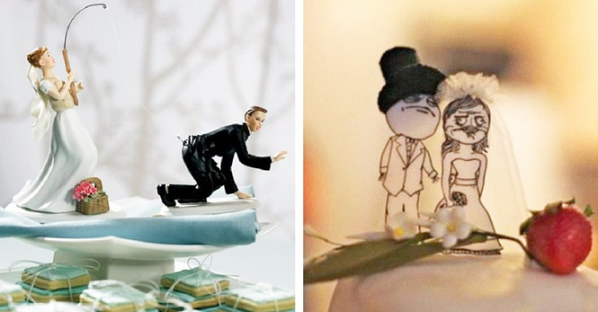Noivinhos incomuns e divertidos para bolos de casamento