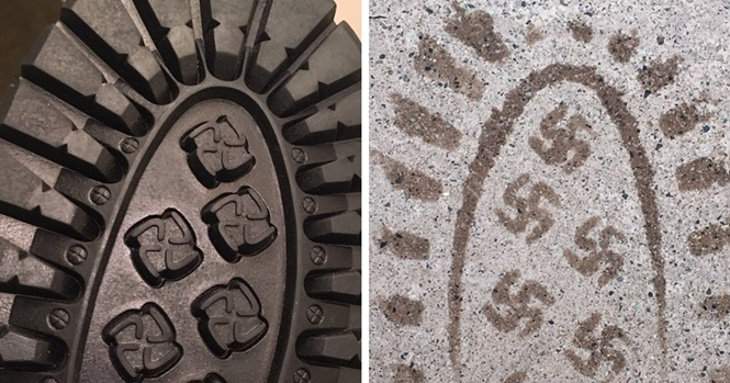 Homem deixa suásticas por onde passa após comprar calçado errado