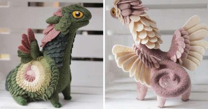 Adoráveis dragões de feltro feitos por artista russa