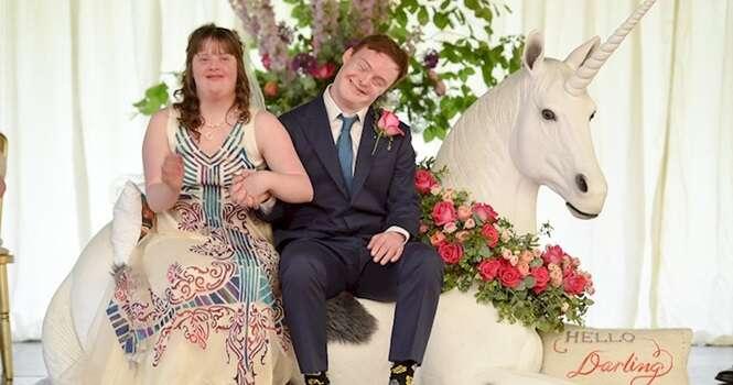 Casal com Síndrome de Down tem mágica festa de casamento para selar sua união