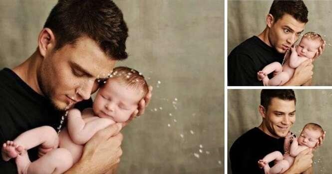 Fotos de pais felizes e seus bebês