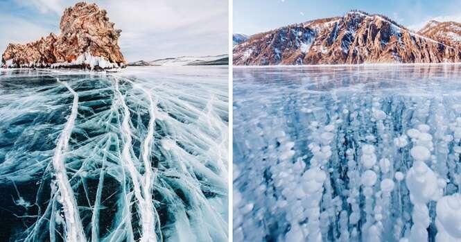 Fotógrafa registra beleza incrível do lago mais velho da Terra quando ele estava congelado