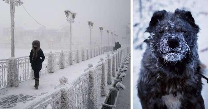Fotógrafo viaja para a cidade mais fria do planeta, onde a temperatura pode alcançar 71,2º C negativos, e faz imagens surpreendentes