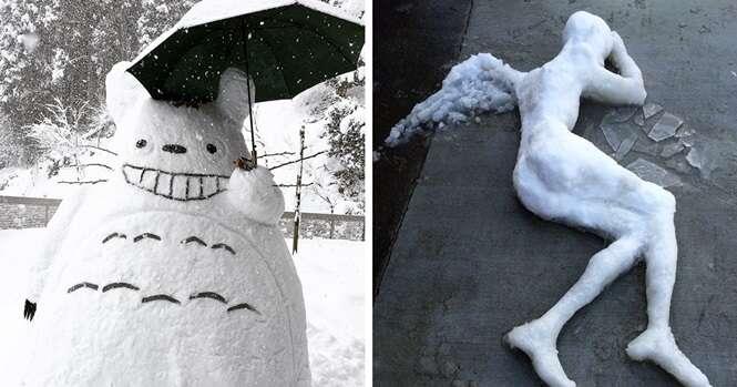 Isso é o que acontece quando neva pesado no Japão