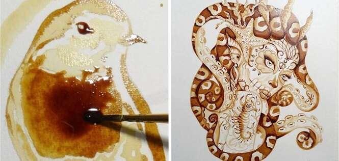 Obras de arte incríveis feitas com café