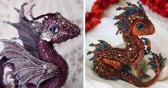 Incríveis broches de dragões criados por artista russa