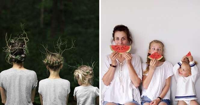 Mãe e filhas fazem adorável sessão de fotos usando roupas iguais