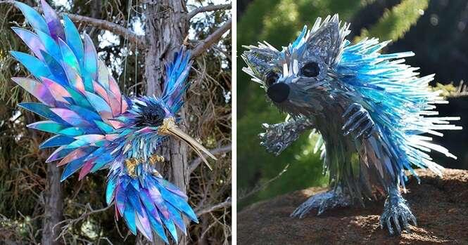 Artista transforma CDs velhos em esculturas fascinantes