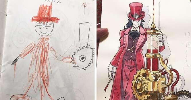 Pai transforma desenhos do filho em personagens de Anime