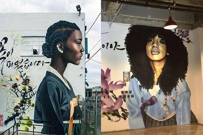 Em belo trabalho, artista retrata mulheres negras em tradicionais vestidos coreanos