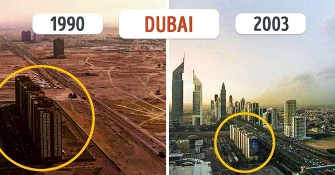 Antes e depois mostrando cidades que se tornaram irreconhecíveis com o passar dos anos
