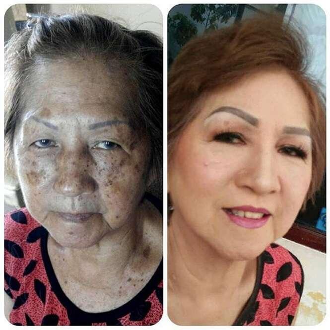 Avós provando que a maquiagem muda tudo