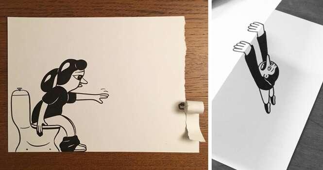 """Ilustrador usa sensacionais truques 3D para """"dar vida"""" a seus desenhos"""