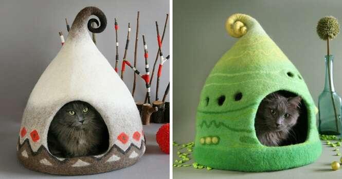 Casas para gatos que parecem ter saído de contos de fadas