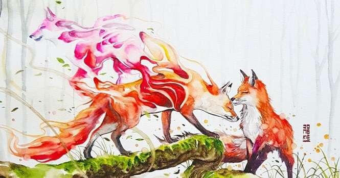 Incríveis imagens de animais feitas com aquarela