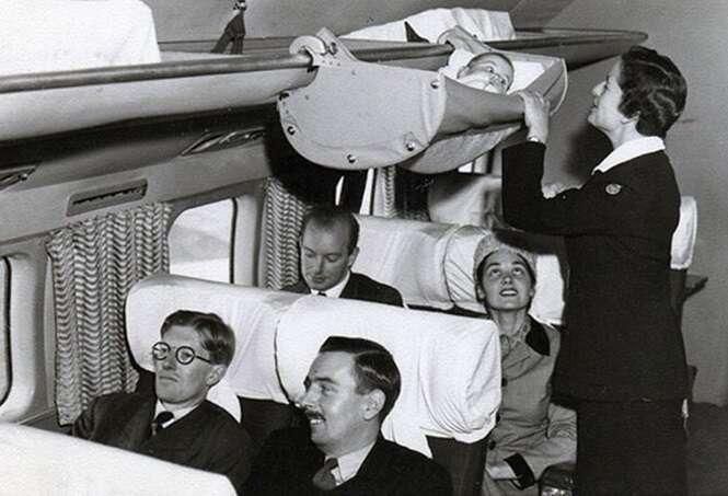 Fotos dos anos 50 revelam como os bebês viajavam em aviões