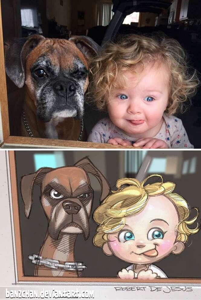 Ilustrador transforma animais de estimação e seus respectivos donos em personagens de desenhos animados
