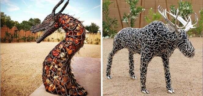 Estas esculturas incríveis são compostas basicamente por metal e pedras de rios