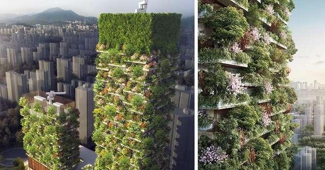 Primeiras florestas verticais da Ásia terão mais de três mil plantas e transformarão dióxido de carbono em 60 quilos de oxigênio por dia