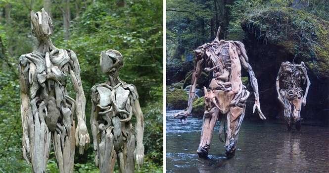 Artista japonês cria esculturas de madeira com forma humana que chegam a dar medo