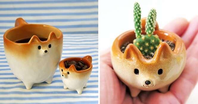 Itens de cerâmica inspirados em cães da raça Shiba Inu que vão lhe fazer sorrir