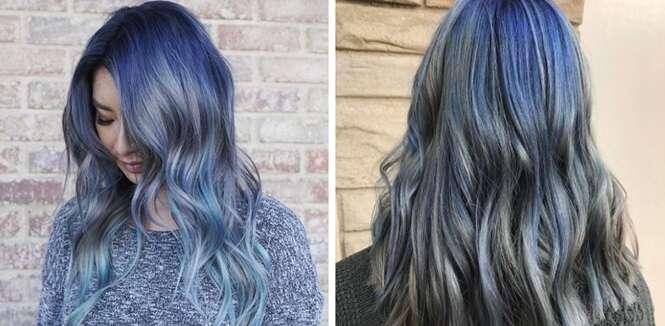 Imagens provando que o cabelo azul jeans é a tendência de 2017