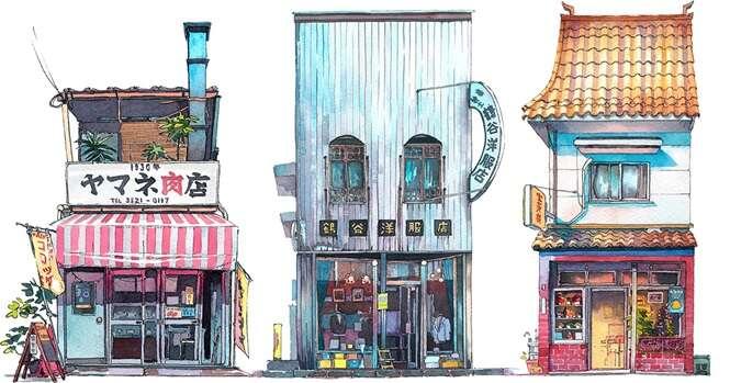 Comércios de Tóquio retratados em aquarela por artista polonês