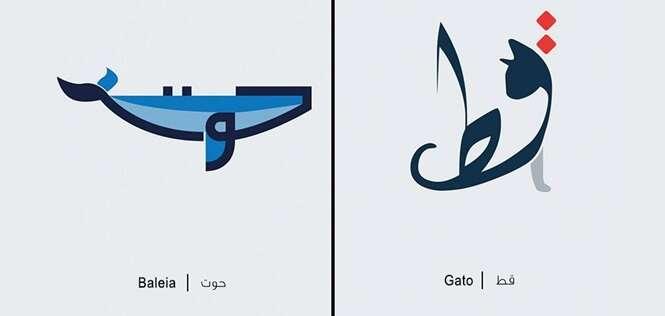 Ilustrações de palavras em árabe de acordo com seus respectivos significados