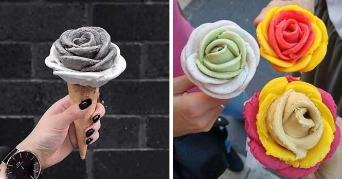 Imagens de sorvetes em forma de flores