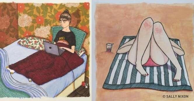 Quadrinhos mostrando como as mulheres se comportam quando ninguém está olhando