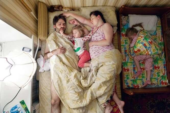 Fotos doces de pais dormindo