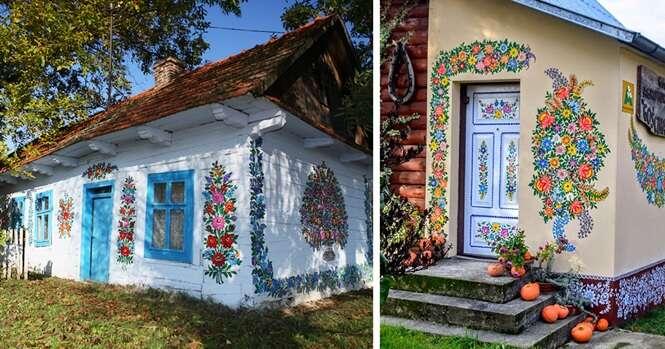 Nesta pequena vila polonesa tudo foi coberto com pinturas de flores