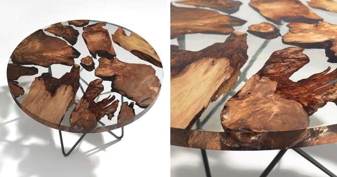 Essa mesa é feita com madeira de 50 mil anos de idade