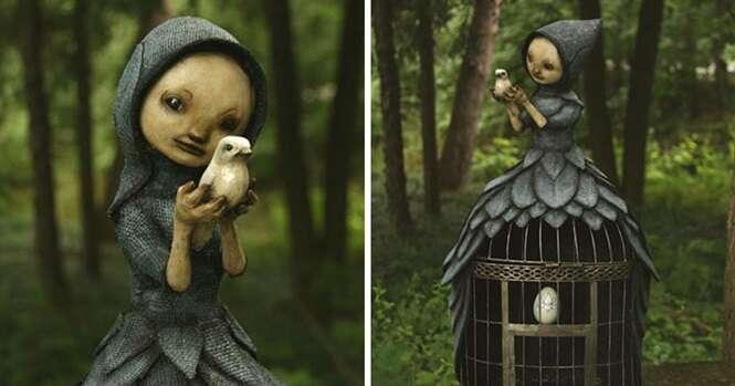 Artista esculpe criaturas que tira da própria imaginação