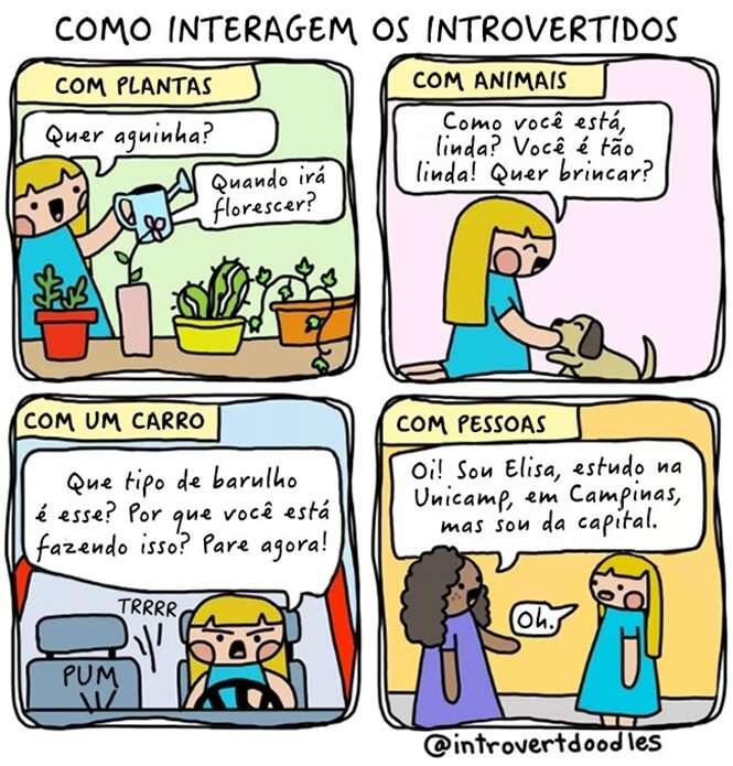 Comics mostrando o que é ser introvertido