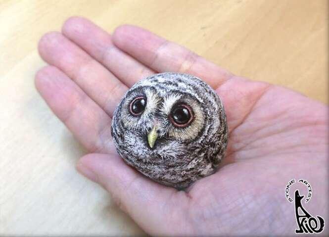 Artista transforma pedras em animais