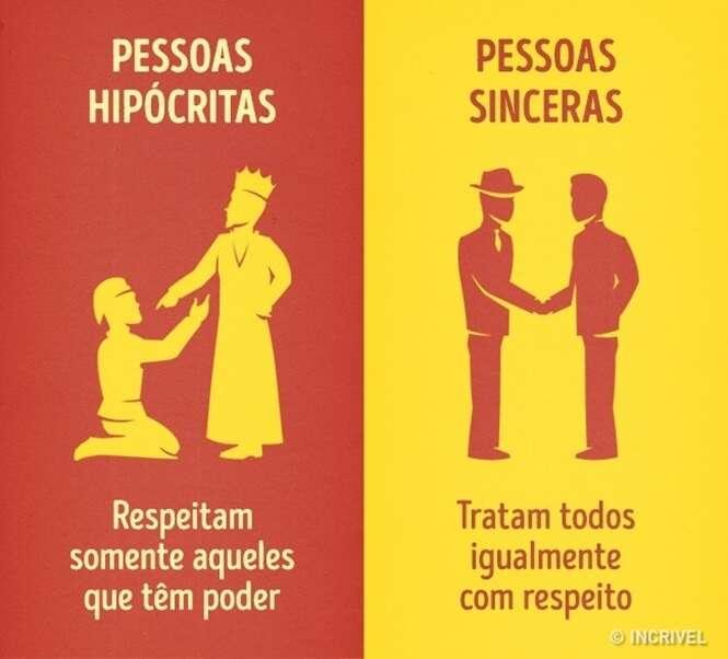 Imagens mostrando diferenças entre pessoas hipócritas e pessoas sinceras