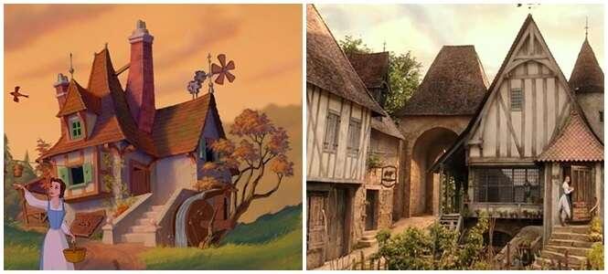 """Estas imagens mostram a comparação entre a versão clássica de """"A Bela e a Fera"""" e a versão atual"""